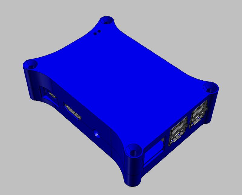 Raspberry Pi B+ Case CAD RenderingTop