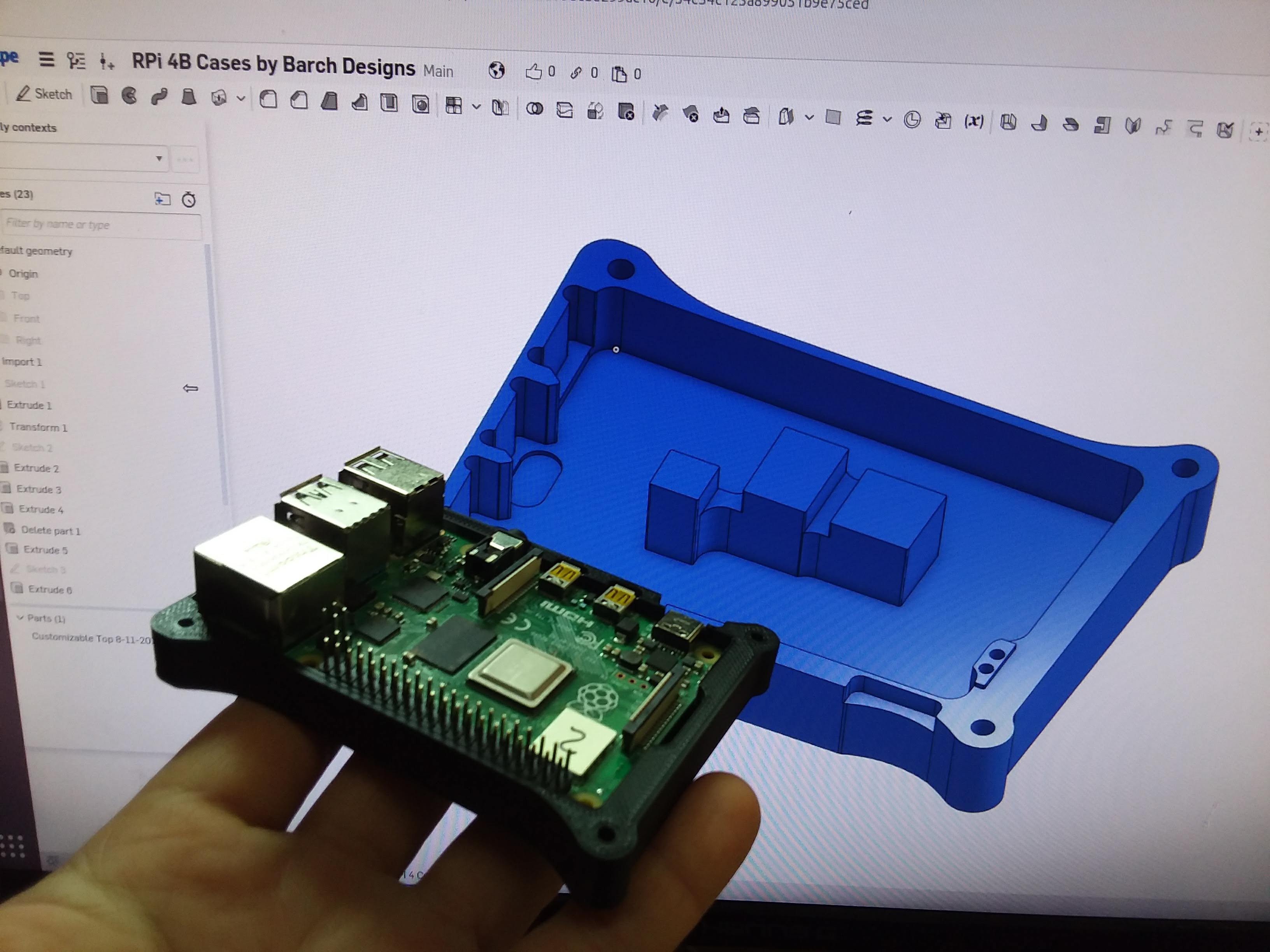 Raspberry Pi 4 Customizable Case working CAD Prototype